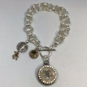 .925 Silver beauty. Authentic coco button bracelet